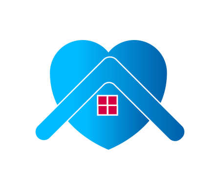 House with heart stay home symbol.