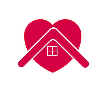 House with heart stay home symbol. Vector Illustration