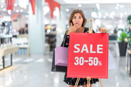 Shopping in the mall with big discounts.