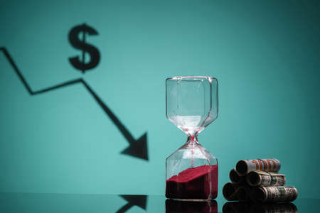 The concept of Time is money. Close up