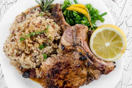 rib eye: Photography of grilled rib eye steak with integral rice