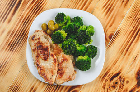 Chicken white meat with  broccoli Banco de Imagens
