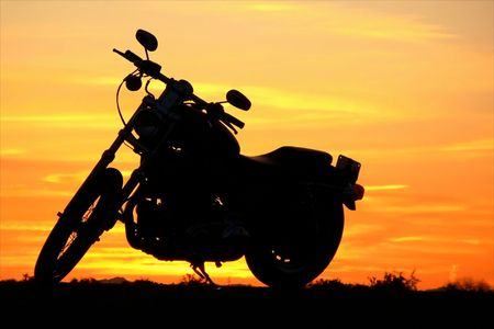 hotrod: Motorcycle at sunset