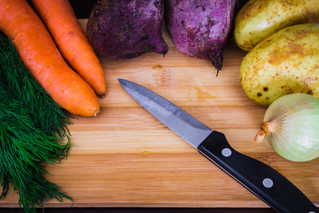 The main ingredients are vegetables for borsch beets, carrots, potatoes, onions . View top. Flat lay