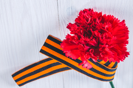 saint: Red carnations tied with Saint George ribbon on gray.