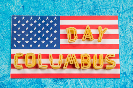discoverer: Happy Columbus Day text. Concept of the US holiday. The discoverer of America. Holiday States.