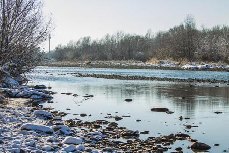 River in Winter. Rapids of Stormy River. Winter Landscape