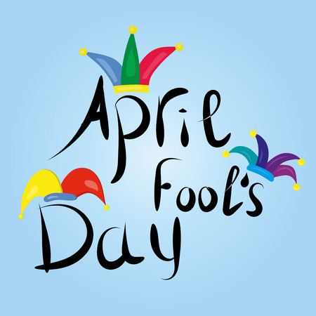 April Fools Day greeting. Colorful typography with jester hat vector lettering design. Perfect for greeting card, banner or advertisement. Illustration