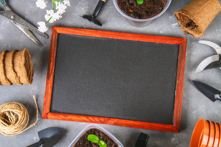 Garden tools and pots on a gray concrete background. Chalk board. Top view, copy space Banco de Imagens