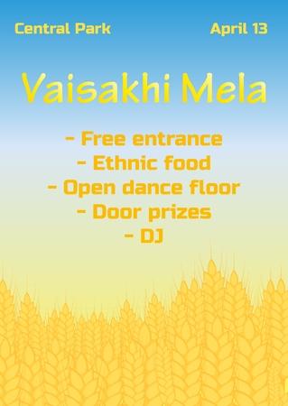 illustration of Happy Vaisakhi Punjabi spring harvest festival