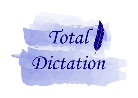 Blue text Total dictation and pen on a watercolor background. Vector illustration