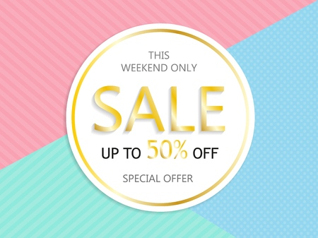 Sale, a discount of 50 percent, only this weekend. Template for flyer, banner for website. Vector illustration