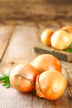 Yellow onion with parsley on a wooden table Banco de Imagens - 100150481