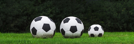 Three soccer balls stand in a row on the green grass. Sport game