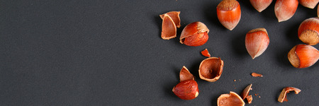 Top view of roasted peeled hazelnuts on a saturated black background.Snacks. Copy space