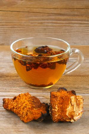 Healing tea from birch mushroom chaga is used in folk medicine