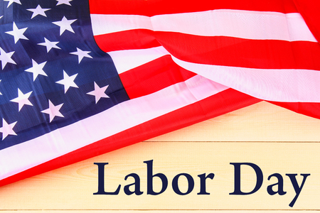 Happy Labor day banner, american patriotic background, text on United States of America flag