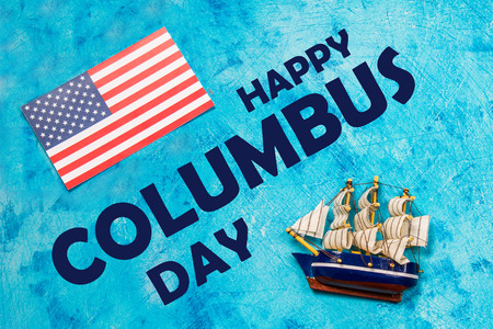 Happy Columbus Day text. Concept of the US holiday. The discoverer of America. Holiday States