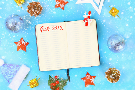 Goals 2019. Christmas mock up blank greeting card. Flat lay. Top view. Copy space