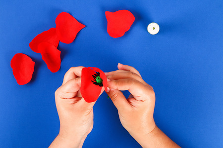 24 Diy paper red poppy Anzac Day, Remembrance, Remember, Memorial day made of crepe paper on blue background. Symbol war. Gift idea, decor. Step by step. Top view. Process kid children craft. Workshop Banque d'images