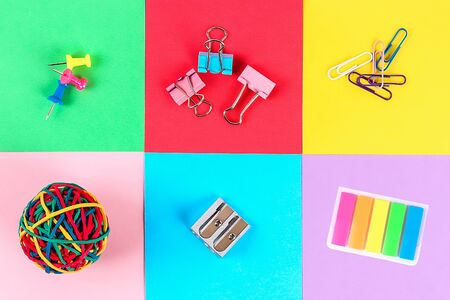 Back to school concept. school supplies at abstract colorful background texture Stock Photo