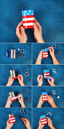 1 Diy vase 4th of July from tin can, electrical tape color American flag, red, blue, white. Gift idea decor July 4, USA Independence Day. Step by step. Top view. Process kid children craft. collage