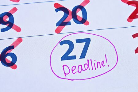 Procrastination. Putting things off until later. Last day before deadline. Calendar with deadline and crossed out days.