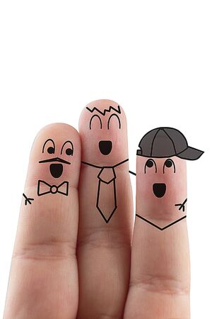fingers Friend isolated white background. Happy international friendship day