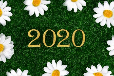 Happy New Year 2020. Creative text Happy New Year 2020 written in gold wooden letters. Merry christmas. Xmas. Stock Photo - 128520156