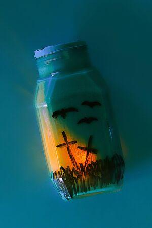 Handicraft from a jar. The concept for Halloween. DIY Banco de Imagens