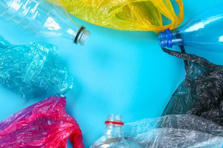 Used plastic bottles and bags for recycling, conceptual. Zero waste. pollution in nature environmental problem. Ecological situation in the world earth.