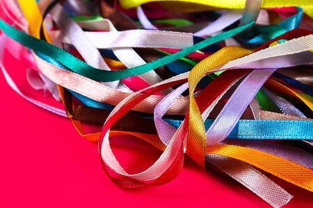 multi-colored ribbons for sewing, needlework from fabric Stok Fotoğraf