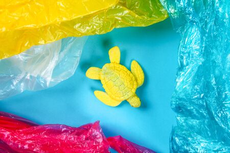 Plastic pollution in ocean environmental problem. Sea Turtle eat plastic bag. Ecological situation in the world earth. Pollution of nature. Zero waste. ocean pollution concept