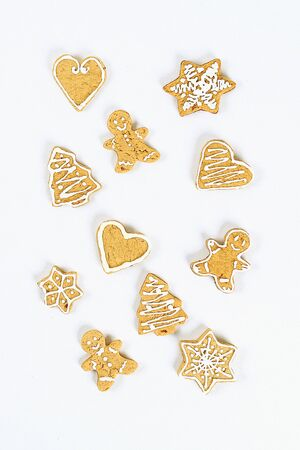 Christmas layout. homemade ginger cookies on a white background. New Year 2020, christmas, winter concept. top view, flat lay composition