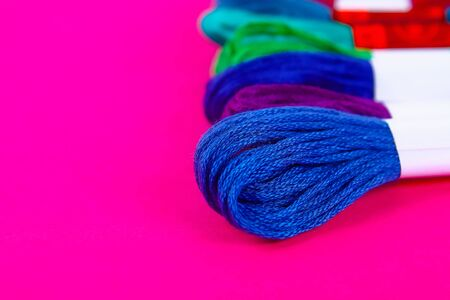 Mouline. Multicolored thread for embroidery. Colorful thread for embroidery. Threads moulin.