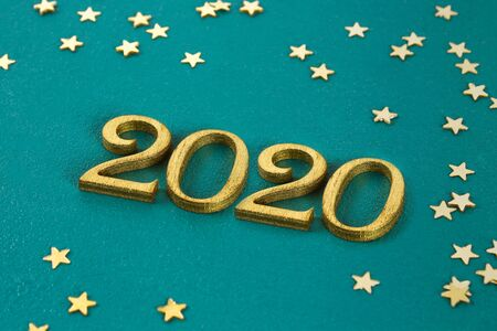 Happy New Year 2020. Creative text Happy New Year 2020 written in gold wooden letters. Merry christmas. Xmas. Stok Fotoğraf
