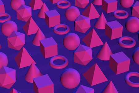 3d abstract geometric shapes in neon light. Top view. 3d render illustration Stock fotó