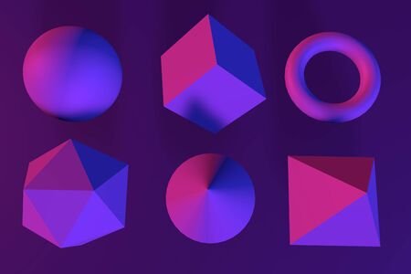 3d abstract geometric shapes in neon light. Top view. 3d render illustration Stok Fotoğraf