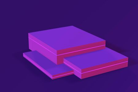 Neon empty podium, product platform. 3d render, illustration Violet color