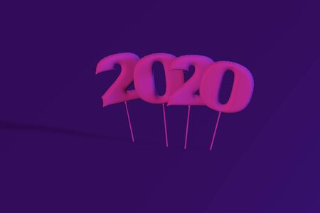 Neon inflatable figures 2020. Balloons. New Year. 3d render illustration chrismas
