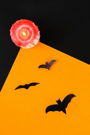 The concept for Halloween. Bats on an orange background.