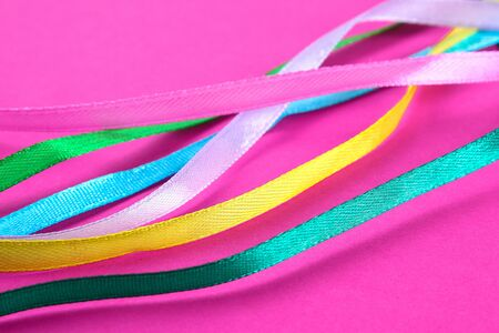 multi-colored ribbons for sewing, needlework from fabric Zdjęcie Seryjne