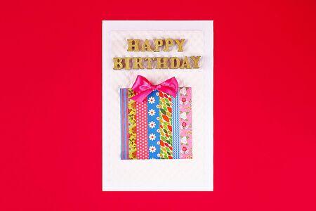 DIY card Happy birthday. Gift on a postcard of scotch. Step by step. Craft. Zdjęcie Seryjne