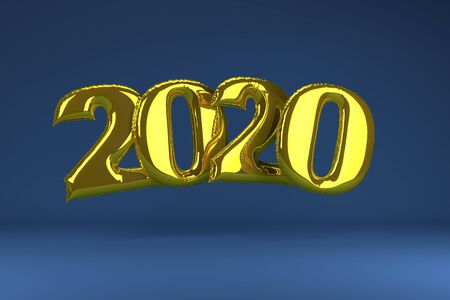Golden inflatable figures 2020 on blue background. Balloons. New Year. 3d render illustration Christmas