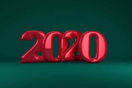 Red metallic inflatable figures 2020 on green background. Balloons. New Year. 3d render, illustration Christmas Zdjęcie Seryjne