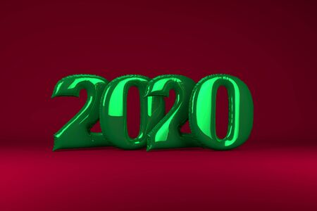 Green metallic inflatable figures 2020 on red background. Balloons. New Year. 3d render, illustration. Christmas Zdjęcie Seryjne