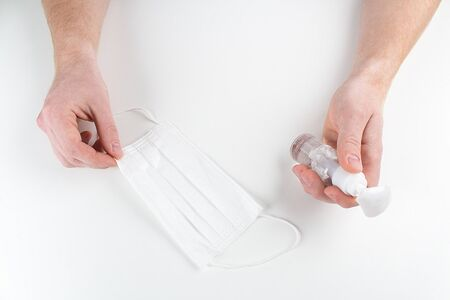 Coronavirus prevention medical surgical masks, hand sanitizer gel hygiene corona virus protection.