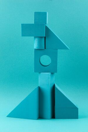 Blue geometric shapes on a blue background. Template composition for advertising, products. Archivio Fotografico