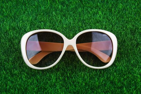Brown glasses lie on the green grass. The concept of summer, leisure, vacation, vacation.
