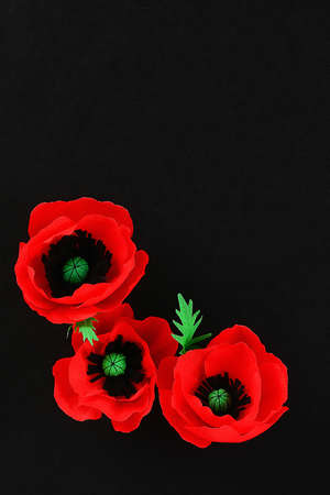Diy paper red poppy Anzac Day, Remembrance, Remember, Memorial day made of crepe paper on black background. Symbol war. Gift idea, decor. Copy space. Top view. Archivio Fotografico